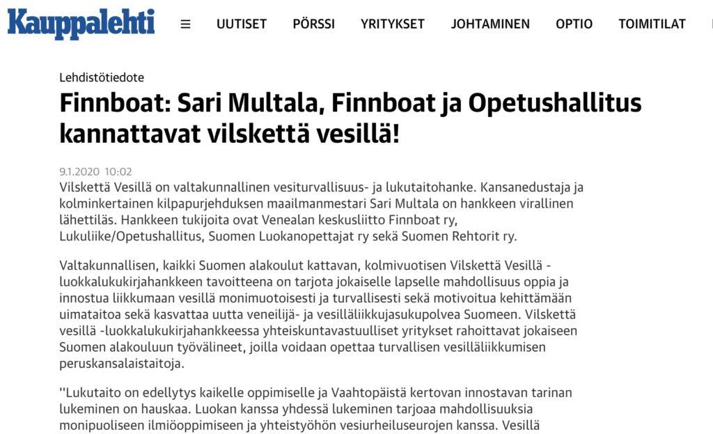 Kauppalehti: Finnboat artikkeli
